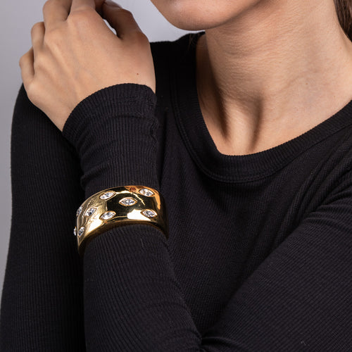 Polished Gold Cuff Bracelet with Crystals