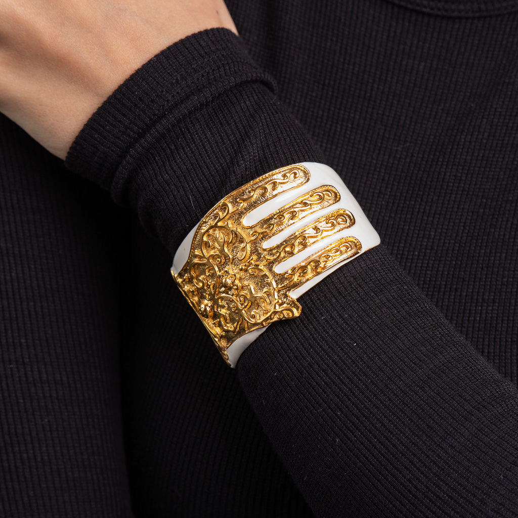 Gold with White Enamel and Satin Gold Hamsa Cuff