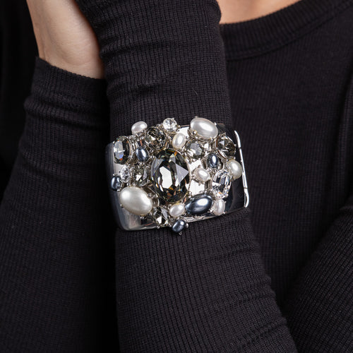 Silver with Crystal, Black Diamond, Hematite and Pearl Cuff