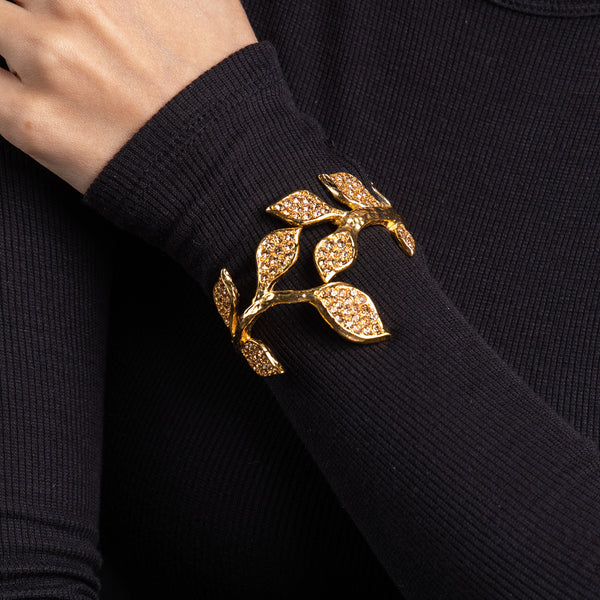 Gold with Light Topaz Leaf Cuff