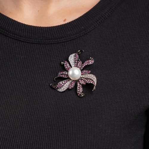 Multi Pink Rhinestones with White Pearl Flower Pin