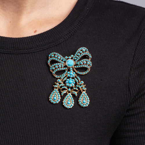 Turquoise Bow Drop Pin