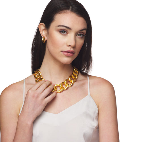 Satin Gold Hammered Link Necklace