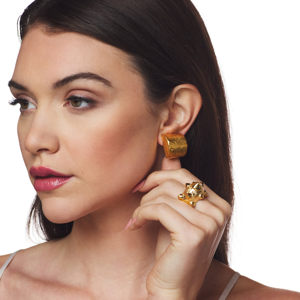Square Satin Gold Hammered Clip Earring