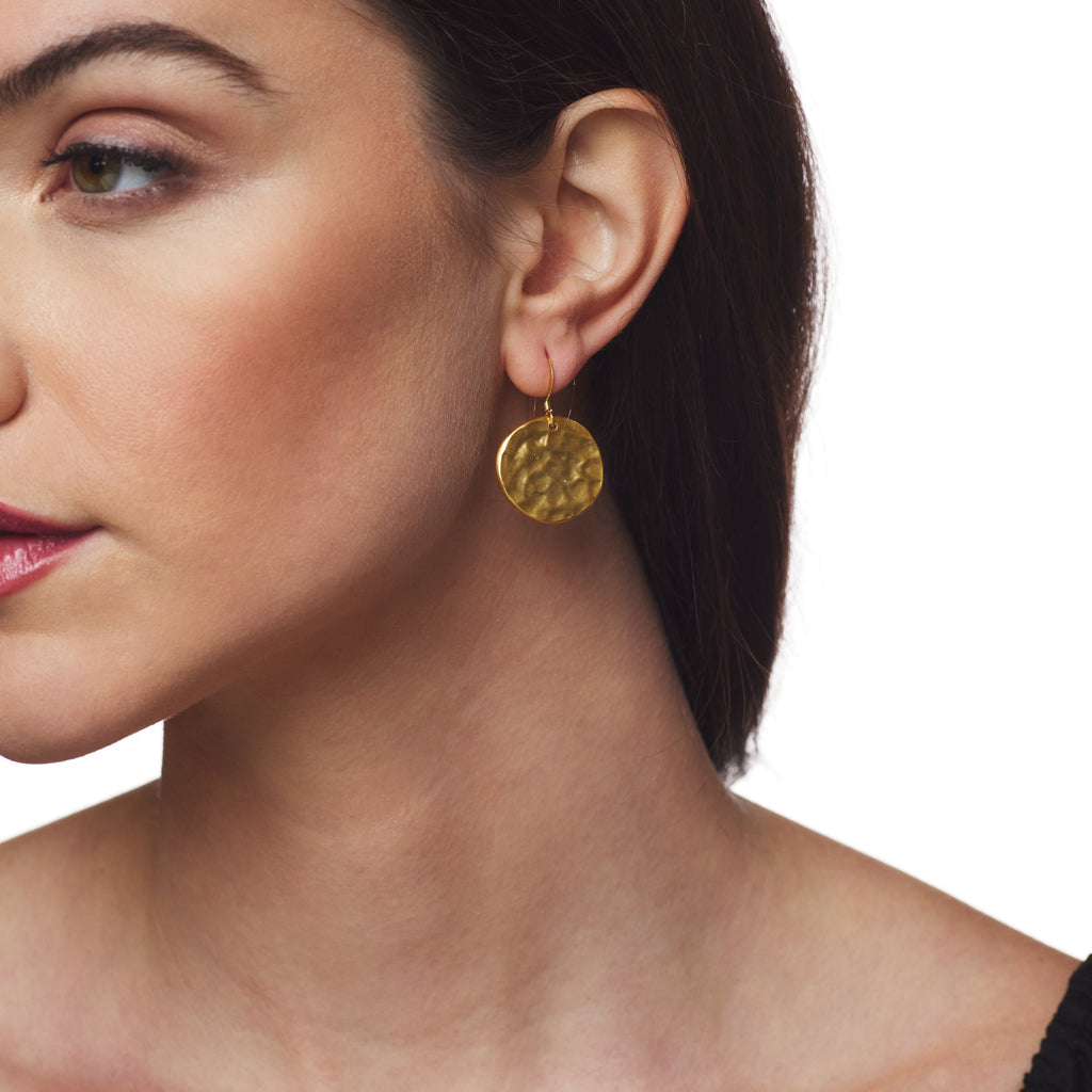 Small Satin Gold Fishhook Top Earring