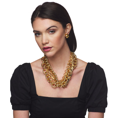 Polished Gold 5 Row Chain Link Necklace