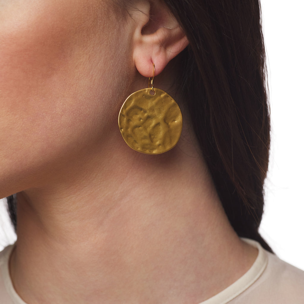 Large Satin Gold Fishhook Top Earring