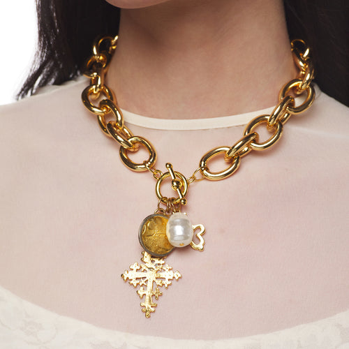 Gold Link Necklace with Pearl and Gold Charms