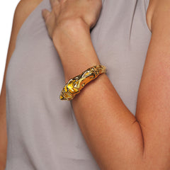 Polished Gold Sculpted Hinged Bracelet