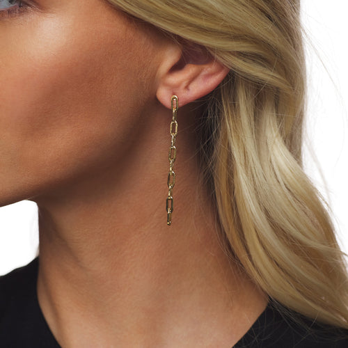 Small Gold Chain Drop Earring