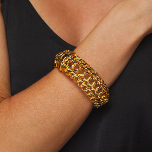 "3"" Wide Polished Gold Braided Hinged Bracelet"