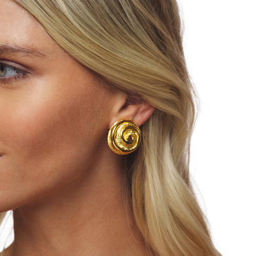 Gold Swirl Button Clip Earring