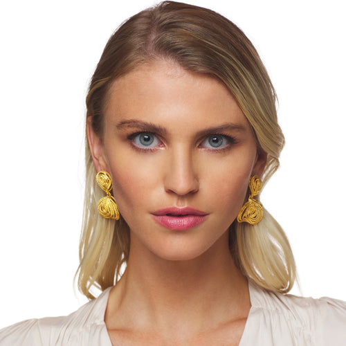 Gold Textured Clusters Drop Post Earrings