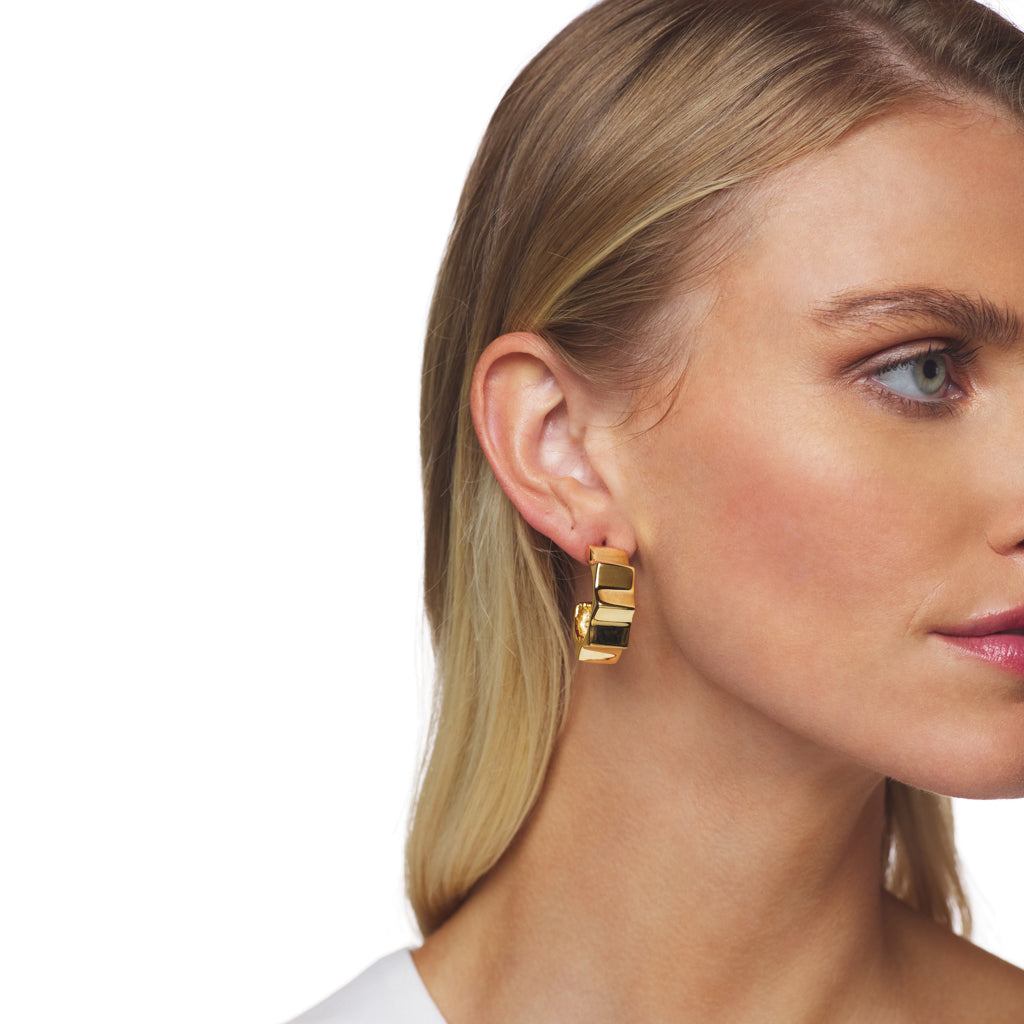 Polished Gold Spike Hoop Clip Earring