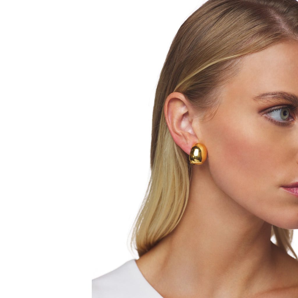 Polished Gold Hoop Clip Earring