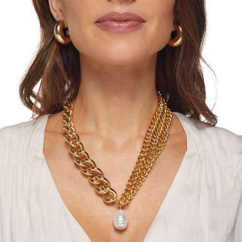 "18"" Gold Multi Chain Necklace W/ Baroque Pearl Drop and Toggle Clasp"