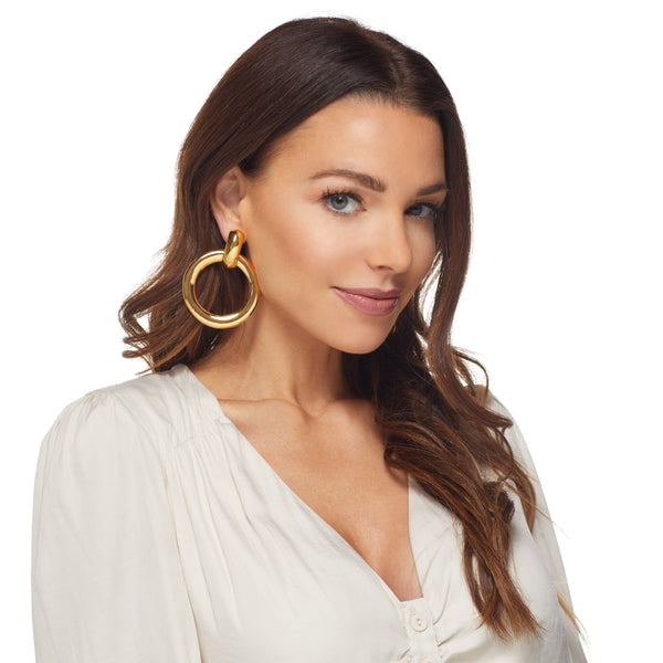 Gold Doorknocker Hoop Clip Earring