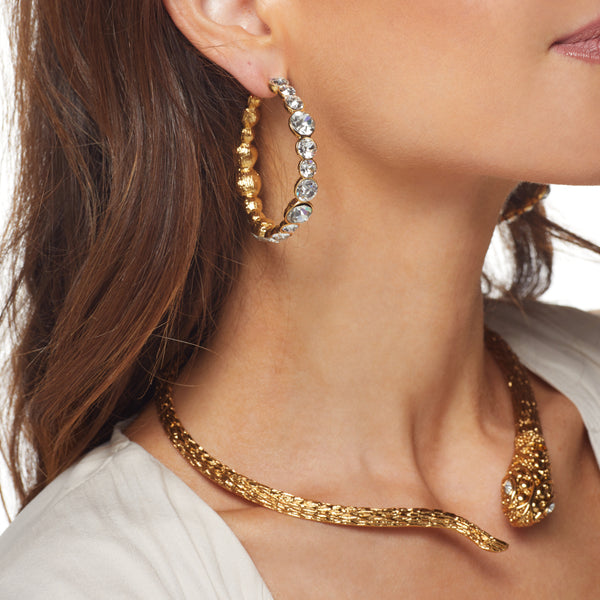 Gold/Crystal Hoop Post Earring