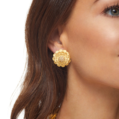 Satin Gold Flower w/ Crystal Cluster Center Button Clip Earring