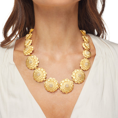 Gold Flowers Cluster Center Necklace