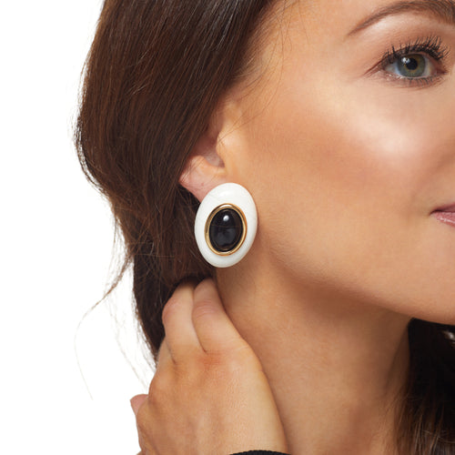White w/ Black Center Oval Clip Earring