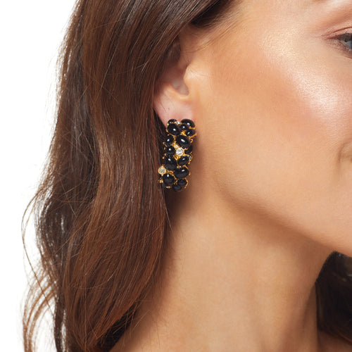 Polished Gold/ Crystal Black Cabs Hoop Pierced Earring