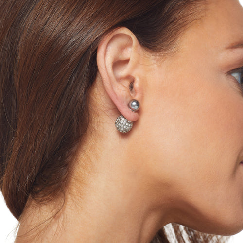 Grey Pearl Front Crystal Pave' Back Ball Earring
