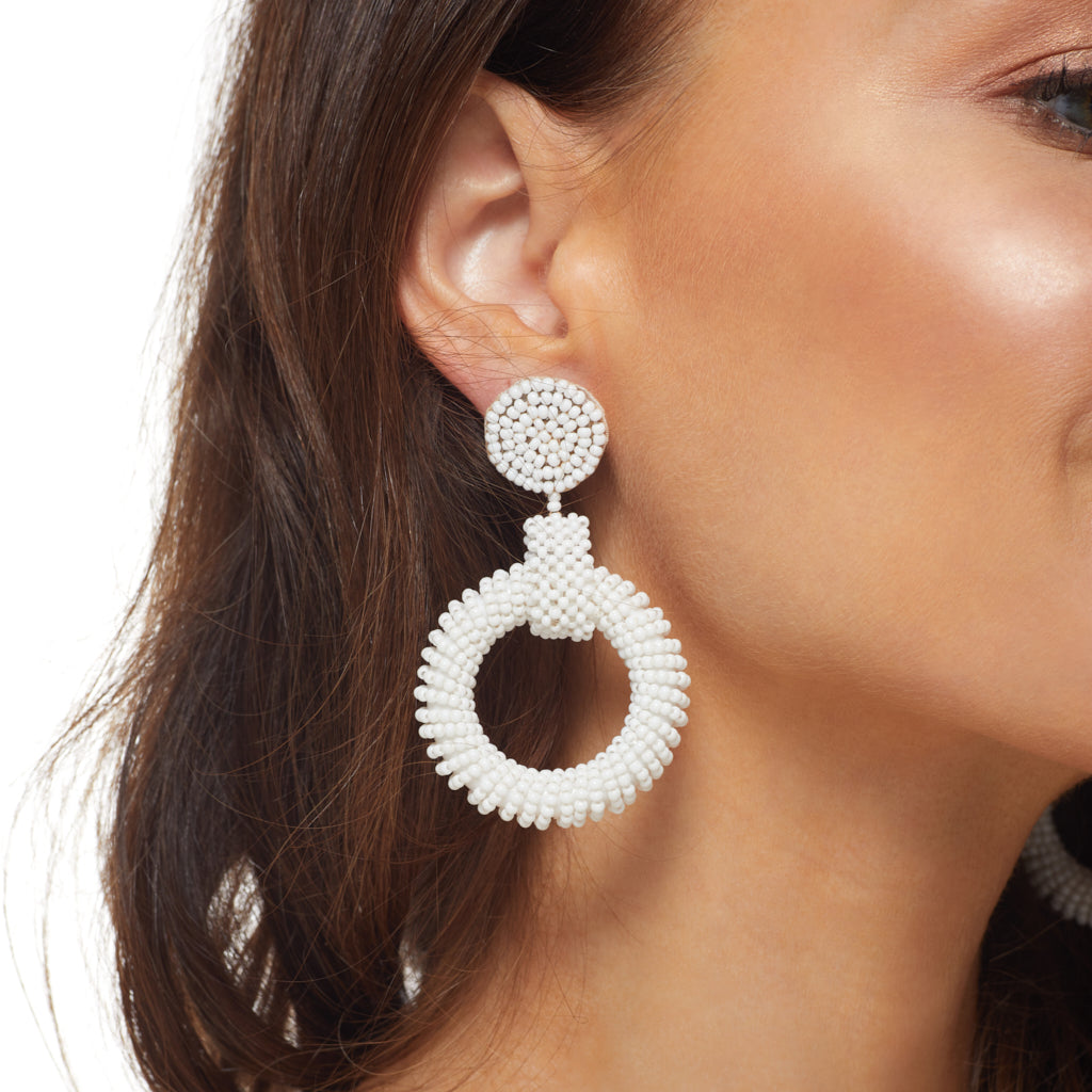 "2.5"" White Seedbead Circle Top and Open Circle Drop Post Earrings"