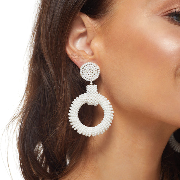 White Seedbead Open Circle Drop Post Earring