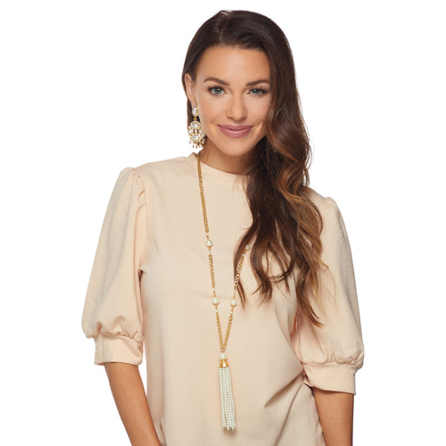 Gold Chain w/ Pearl Stations and Pearl Tassel Necklace