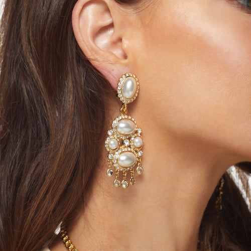 Gold/ Crystal White Pearl Drop Clip Earrings