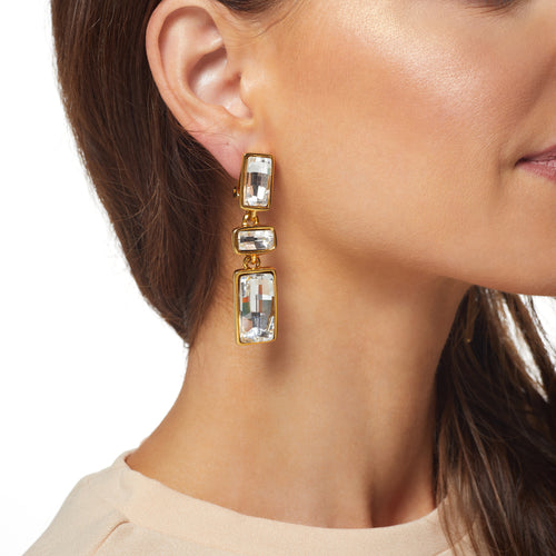 Polished Gold/ Crystal Rectangle Drop Clip Earring