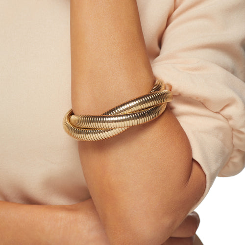 Small Gold Snake Chain Stretch Bracelet