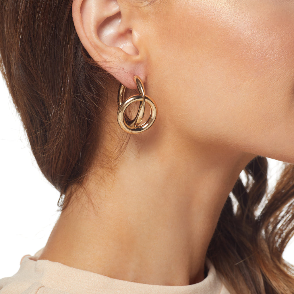 "1"" Gold Hoop w/ Open Circle Center Post Earring"