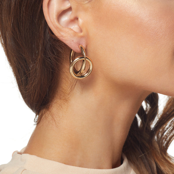 Gold Open Circle Center Post Earring