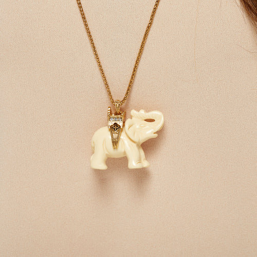 "30"" Gold Chain Ivory Elephant Gold Seat Pendant Necklace"