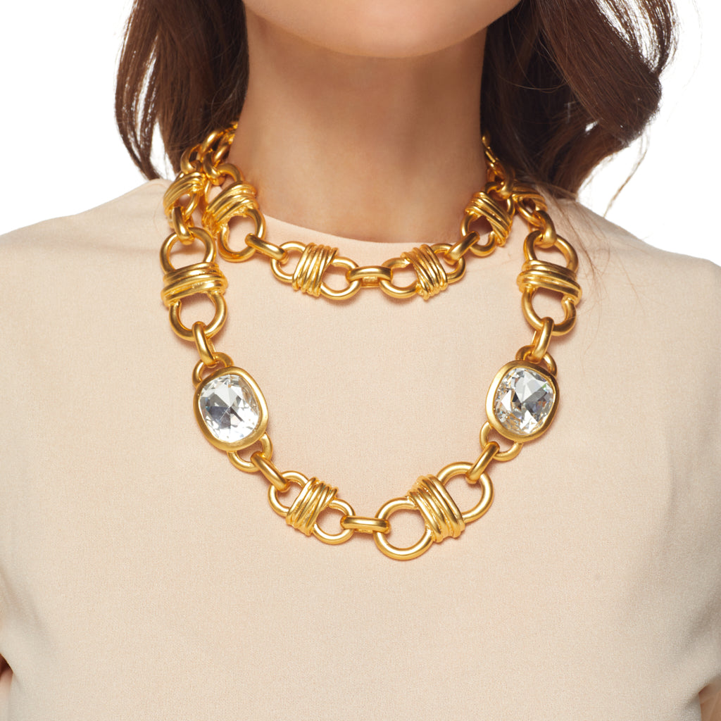"34"" Satin Gold Link Chain Necklace w/ 3 Crystal Headlight"