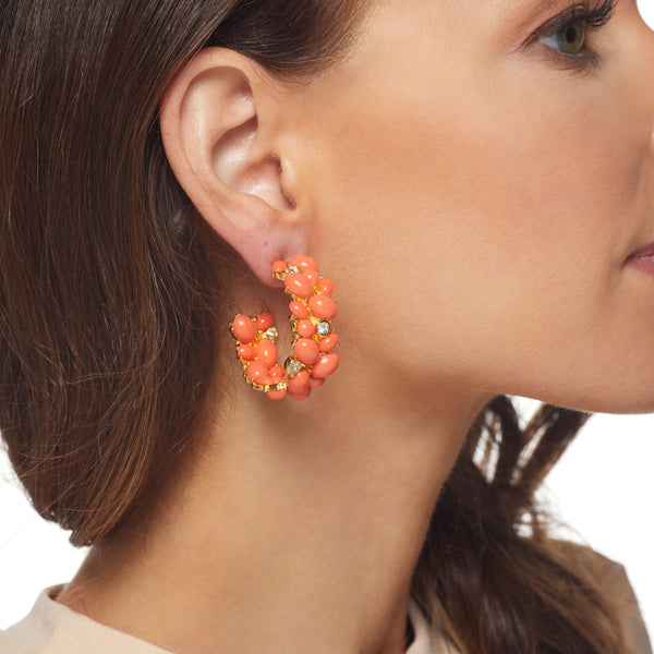 Coral Cabochon Hoop Pierced Earring