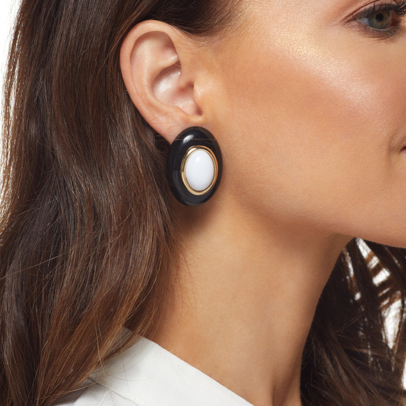Black with White Center Oval Clip Earring