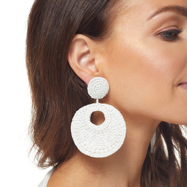 White Seedbead Round Disc Drop Post Earring