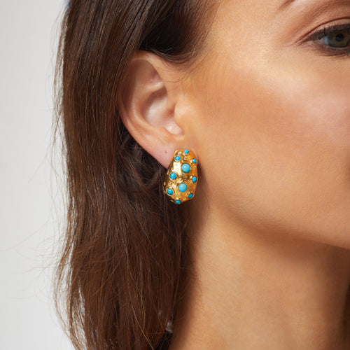 "1"" Chubby Gold Clip Earring w/ Turquoise Dots"