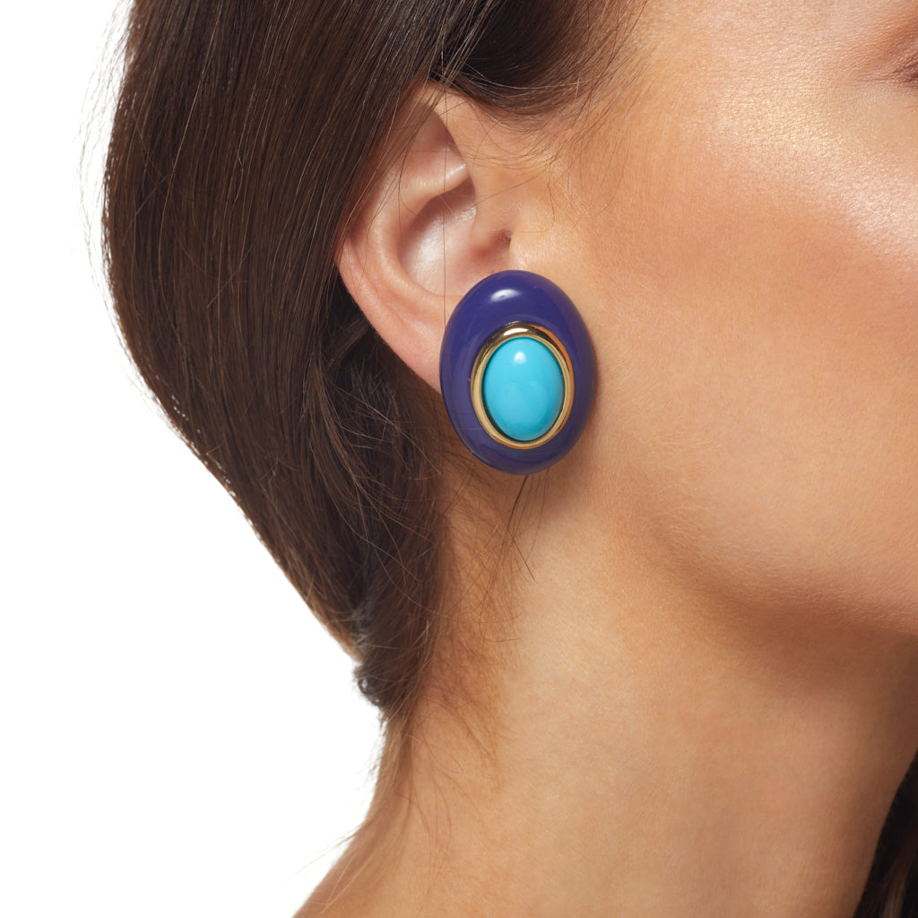 Lapis and Turquoise Center Oval Clip Earrings