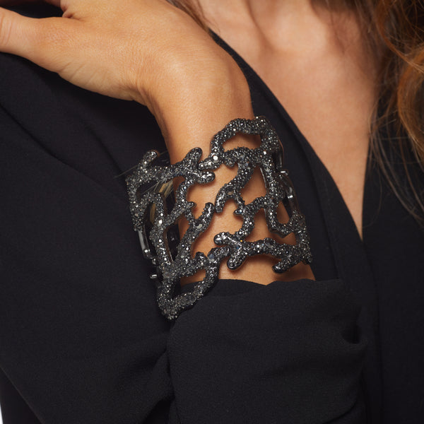 Polished Gunmetal Branch Hinged Cuff