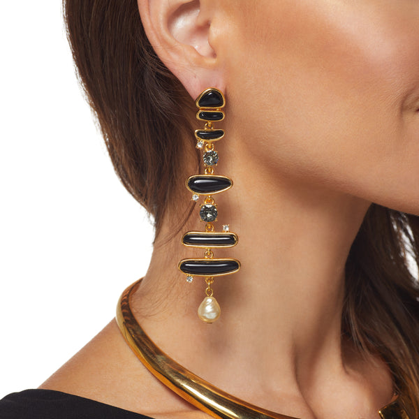 "Gold/ Black Multi Shape 3.5"" Drop Post Earring"