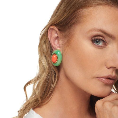 Jade with Coral Center Oval Clip Earring