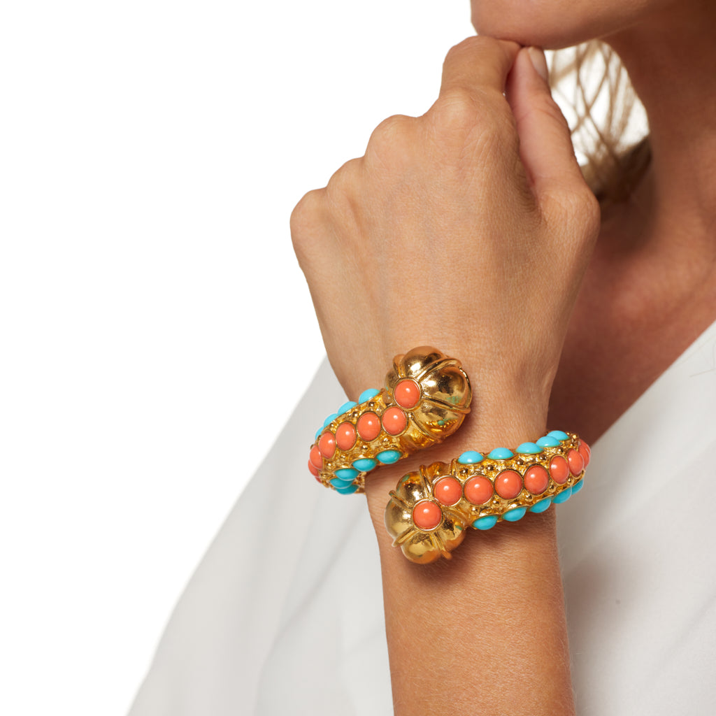 Gold Bypass Bracelet w/ Turquoise & Coral