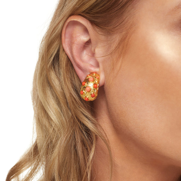 Gold & Coral Clip Earring