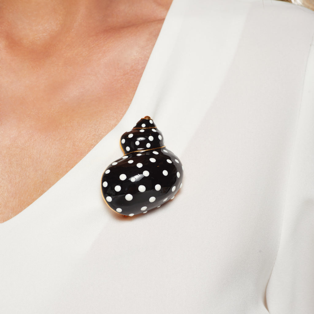 Black w/ White Dots Snail Pin