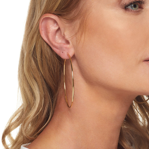 Medium Gold Thin Wire Hoop Post Earring