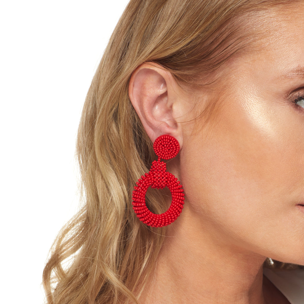 "2.5"" Red Seedbead Circle Top and Open Circle Drop Post Earrings"